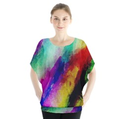 Colorful Abstract Paint Splats Background Blouse