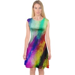 Colorful Abstract Paint Splats Background Capsleeve Midi Dress