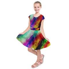 Colorful Abstract Paint Splats Background Kids  Short Sleeve Dress