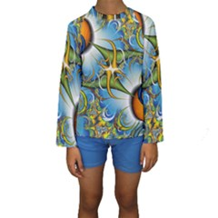 Random Fractal Background Image Kids  Long Sleeve Swimwear