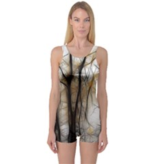 Fall Forest Artistic Background One Piece Boyleg Swimsuit