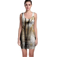 Fall Forest Artistic Background Sleeveless Bodycon Dress