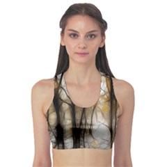Fall Forest Artistic Background Sports Bra