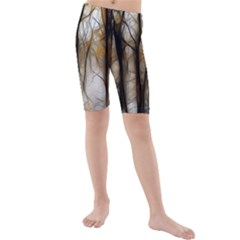 Fall Forest Artistic Background Kids  Mid Length Swim Shorts