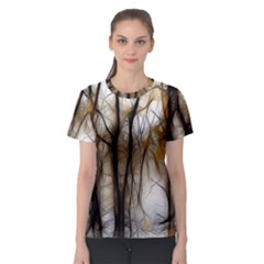 Fall Forest Artistic Background Women s Sport Mesh Tee
