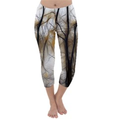 Fall Forest Artistic Background Capri Winter Leggings