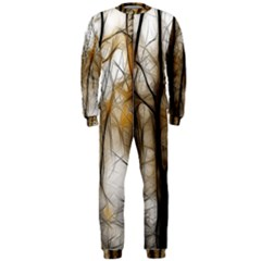 Fall Forest Artistic Background OnePiece Jumpsuit (Men)