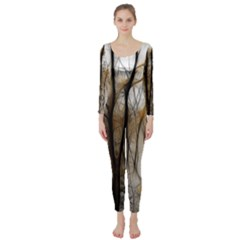 Fall Forest Artistic Background Long Sleeve Catsuit