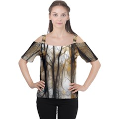 Fall Forest Artistic Background Women s Cutout Shoulder Tee