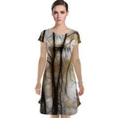 Fall Forest Artistic Background Cap Sleeve Nightdress