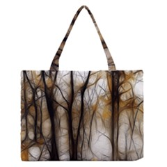 Fall Forest Artistic Background Medium Zipper Tote Bag