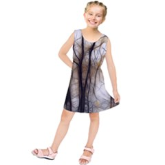Fall Forest Artistic Background Kids  Tunic Dress