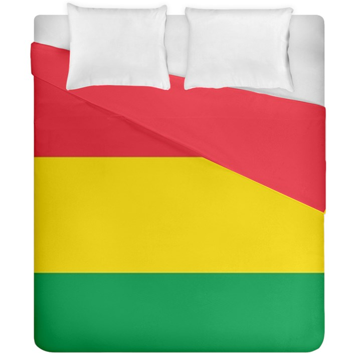 Rasta Colors Red Yellow Gld Green Stripes Pattern Ethiopia Duvet Cover Double Side (California King Size)