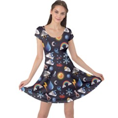Blue Weather Pattern Over Blue Layered Cap Sleeve Dress