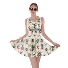 Gray Pattern With Watercolor Beetles Skater Dress