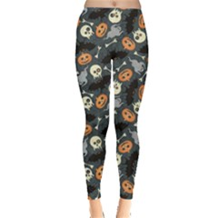 Colorful Halloween Pattern with Pumkins Bats and Skulls Women s Leggings