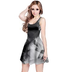 Black & White Iridescent Pattern Sleeveless Skater Dress