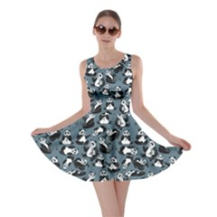 Blue Set of Cartoon Funny Panda on A Blue Animal Skater Dress