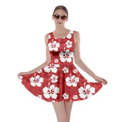 Red Pattern with Hibiscus Flowers on Red  Skater Dress