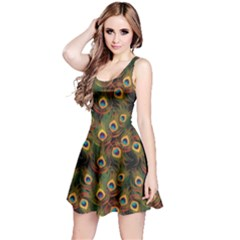 Green Pattern Peacock Feathers Sleeveless Skater Dress