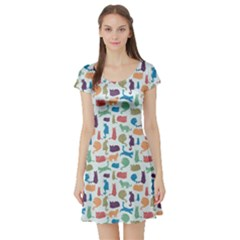 Blue Colorful Cats Silhouettes Pattern Short Sleeve Skater Dress