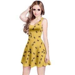 Yellow Pattern Of The Bee On Honeycombs Sleeveless Skater Dress