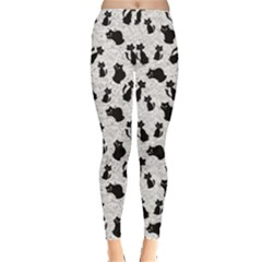 Gray Cartoon Cats Black Silhouettes with White Women s Leggings