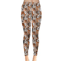 Colorful Doodle Dogs And Cats Pattern Leggings