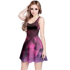 Red & Purple Iridescent Pattern Sleeveless Skater Dress