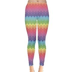 Colorful Chevron Rainbow Colored Pattern Women s Leggings