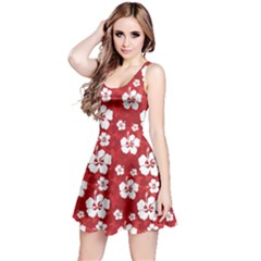 Red Pattern With Hibiscus Flowers On Red  Sleeveless Skater Dress