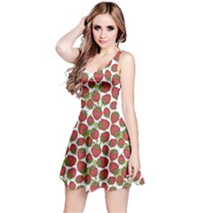 Red Pattern With Strawberries Graphic Stylized Drawing Sleeveless Dress
