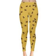 Yellow Pattern Of The Bee On Honeycombs Women s Leggings