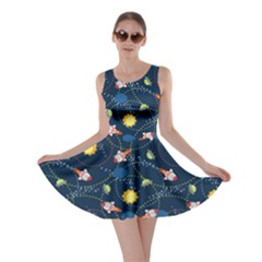 Navy Space with Cute Rocket Skater Dress
