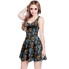 Black&Blue Floral Sleeveless Skater Dress