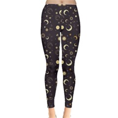 Black A Fun Night Sky The Moon And Stars Women s Leggings