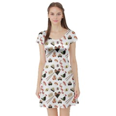 Colorful Pattern With Japanese Food Short Sleeve Skater Dress