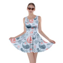Blue Pattern With Cute Whales Sailing Octopus Skater Dress
