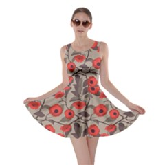 Red Pattern Flowers Roses Floral Vintage Style Skater Dress