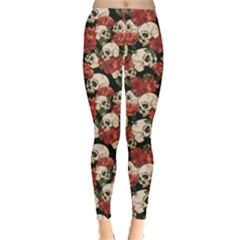 Brown Skull And Flowers Day Of The Dead Vintage Women s Leggings