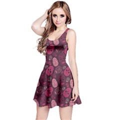 Red Pink And Purple With Skulls Sleeveless Dress