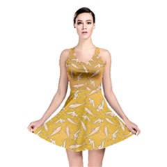 Yellow With Stylized Sharks Stylish Design Reversible Skater Dress