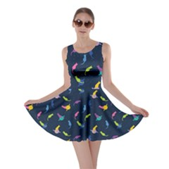Navy Space with Cats Saturn and Stars Skater Dress