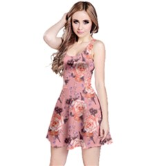 Coral Vintage Roses Pattern Sleeveless Skater Dress