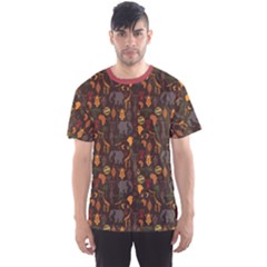 Brown African Ethnic Pattern with Stylized Men s Sport Mesh Tee