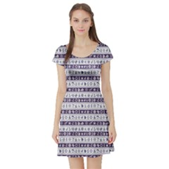 Blue Borders With Nautical And Sea Symbols Short Sleeve Skater Dress