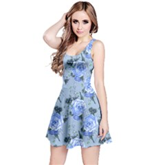 Blue Vintage Roses Pattern Sleeveless Skater Dress