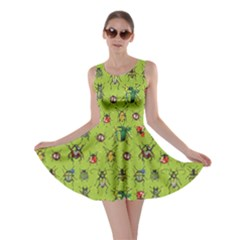 Neon Green Pattern with Watercolor Beetles Skater Dress
