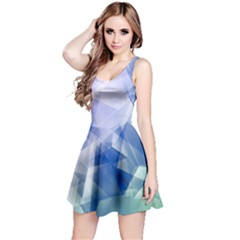 Blue & Aqua Iridescent Pattern Sleeveless Skater Dress