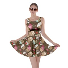 Colorful Pattern Of Tasty Cupcakes Skater Dress